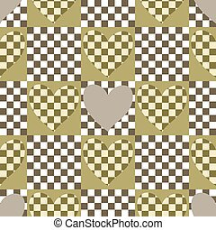 Seamless checkered chess pattern with hearts