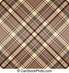 Seamless checkered pattern with brown and beige stripes.