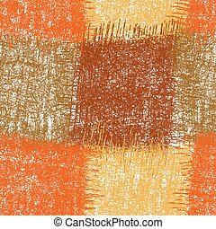 Seamless checkered pattern with grunge striped weave square elements in brown, orange, beige colors