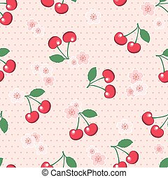 Seamless cherries and blossom on polka dot background
