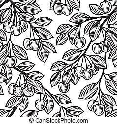 Seamless cherry background b&w