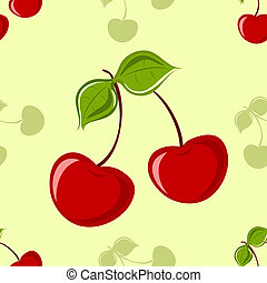 Cherry and leaves seamless background
