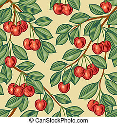 Seamless cherry background in woodcut style. Vector illustration with clipping mask.