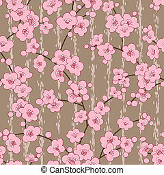 seamless cherry, sakura blossom flowers pattern