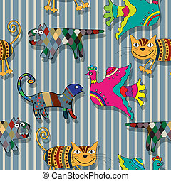 Seamless childlike drawing of animals in colors, abstract art