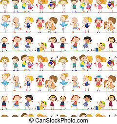 Illustration of seamless children pattern. Note: Image is on only one layer