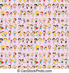 Illustration of seamless children movements