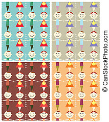 seamless children pattern illustration.Vector backgrounds