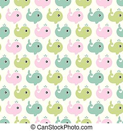 Seamless children's pattern. A lot of little whales on a white background. Pattern Vector illustration