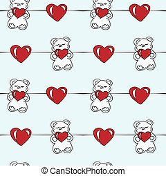 seamless children's pattern with bears and hearts on a blue background