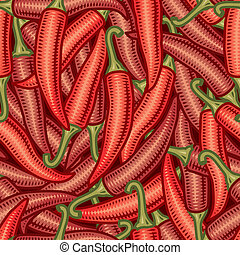 Seamless chili pepper background in woodcut style. Vector...