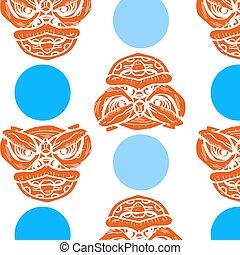 Seamless china pattern with blue circle