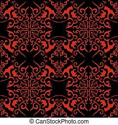 Seamless Chinese Background Cross Curve Spiral Kaleidoscope