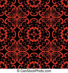 Seamless Chinese Background Curve Cross Round Flower