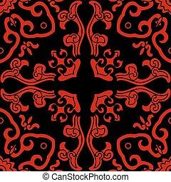 Seamless Chinese Background Curve Spiral Cross Kaleidoscope
