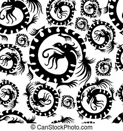 Seamless chinese black dragon pattern (from my ethnic...