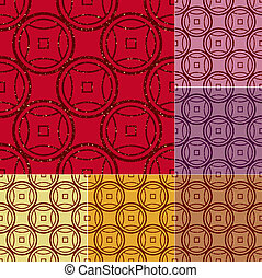 seamless chinese coins pattern