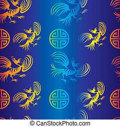 dragon-bird pattern  - Seamless chinese dragon-bird pattern