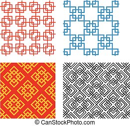 Seamless Chinese pattern in geometric style vector