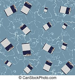 Seamless chocolate pattern on textured blue background