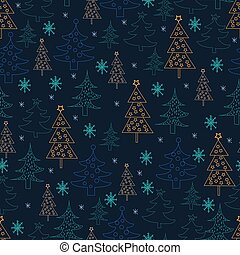 Seamless Christmas background. Hand drawn pattern with fir trees, snowflakes.