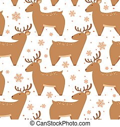 Seamless Christmas Background with Cute Deer
