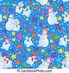 Seamless Christmas background with snowmen - Seamless...