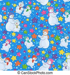Seamless Christmas background with snowmen - Seamless...