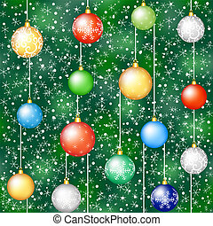 christmas background with tree and hanging baubless