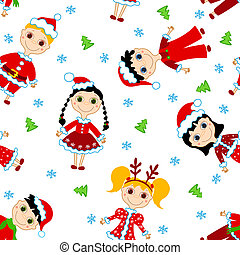 Seamless christmas children pattern.