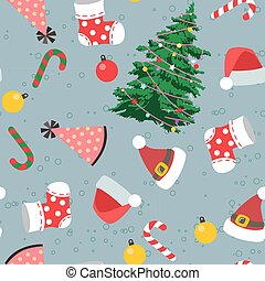 Seamless Christmas day in cartoon style pattern