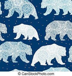 Seamless Christmas decorative pattern with polar bear