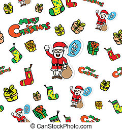 Seamless Christmas doodle icons