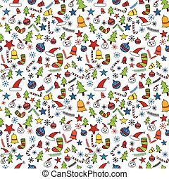 Seamless christmas doodle pattern