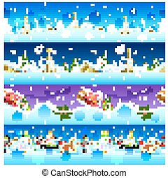 Seamless Christmas Holiday background with Santa and Snowman