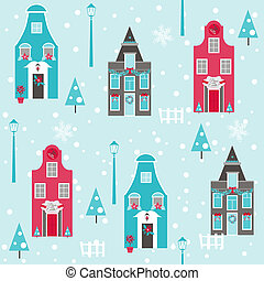 Seamless Christmas House Background - for design and scrapbook - in vector