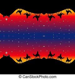 Seamless Christmas Magi Wrapping Paper
