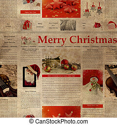 Seamless Christmas newspaper pattern. Repeating vintage...