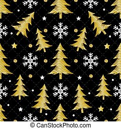 seamless christmas night pattern on black background with gold pine tree and snowflake glitter