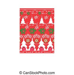 Seamless Christmas pattern - gifts, mistletoe, snowflakes, Christmas tree