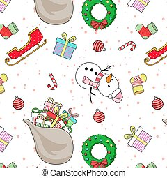 Seamless Christmas pattern in cartoon style