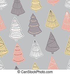 Seamless christmas pattern in scandinavian style, doodle vector illustration for textile design
