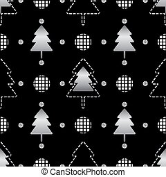 seamless christmas pattern on black background with silver pine tree and polka dot