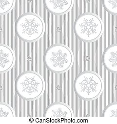seamless christmas pattern on stripe background with white paper snowflake and silver dot glitter