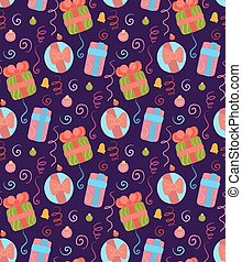 Seamless Christmas pattern on violet background. Wallpaper with decorations, gifts, serpentine and confetti. Festive texture