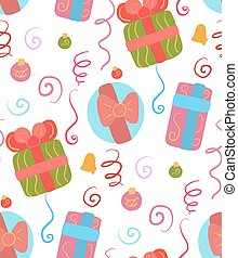 Seamless Christmas pattern on white background. Wallpaper with decorations, gifts, serpentine and confetti. Festive texture