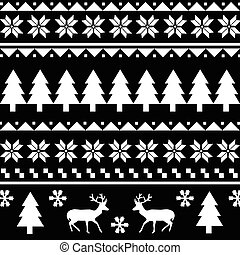 Seamless Christmas pattern or scandynavian pattern, vector...