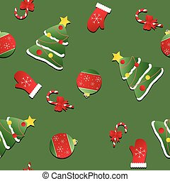 Seamless Christmas pattern. texture with red mittens, Christmas trees and candy canes