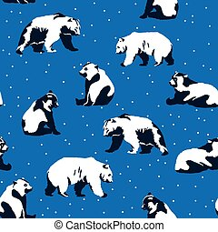 Seamless Christmas pattern with bears