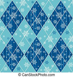 Seamless christmas pattern with blue rhombuses and...